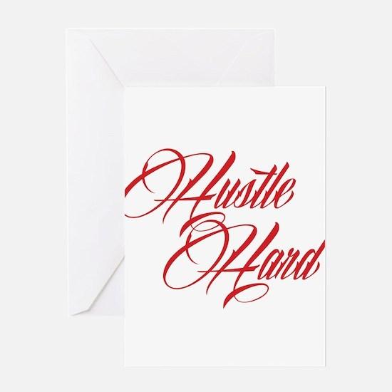hustle hard red Greeting Card