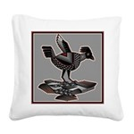 Mimbres Q Red Outline Square Canvas Pillow