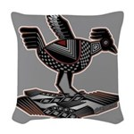 Mimbres Q Red Outline Woven Throw Pillow