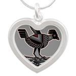 Mimbres Q Red Outline Silver Heart Necklace
