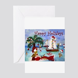 Christmas boat parade Greeting Cards