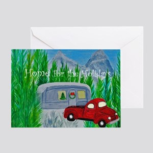 Camper Trailer And Truck Christmas Greeting Cards