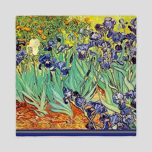 Van Gogh Irises purple floral Queen Duvet
