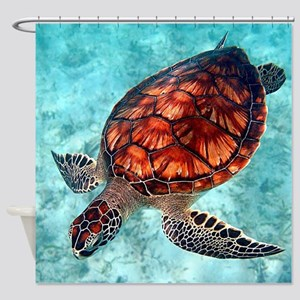 Sea Turtle swimming Shower Curtain