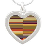 Whose Scarf Stripes Silver Heart Necklace