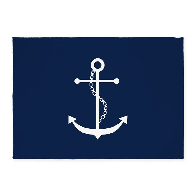 Navy Blue Anchor 5 X7 Area Rug By Mcornwallshop