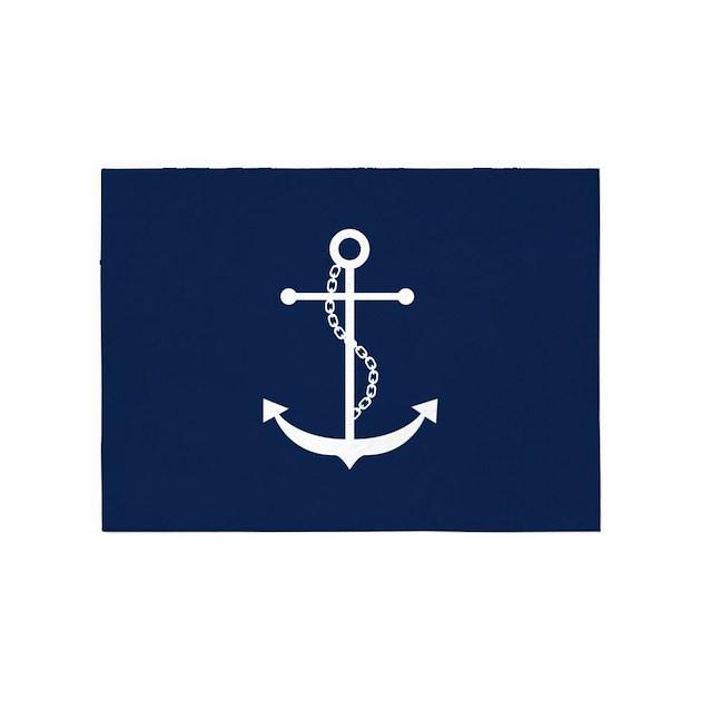 Navy Blue Anchor 5 X7 Area Rug By Mcornwallshop
