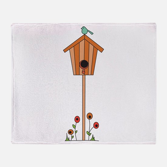 Birdhouse Flowers Throw Blanket
