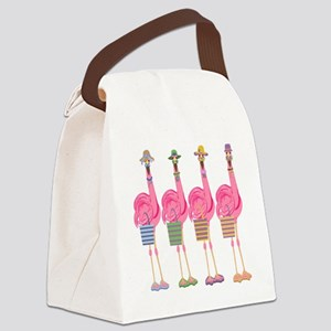Snazzy Flamingos Canvas Lunch Bag