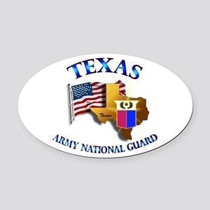 Army National Guard - TEXAS w Flag Oval Car Magnet