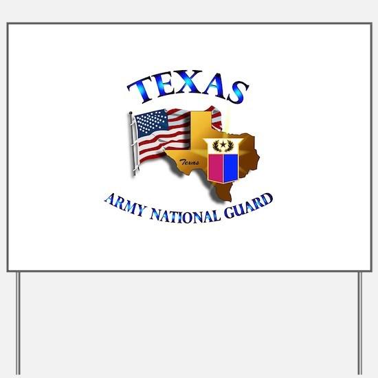 Army National Guard - TEXAS w Flag Yard Sign