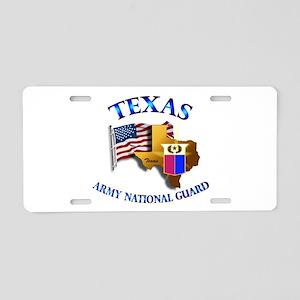 Army National Guard - TEXAS w Flag Aluminum Licens