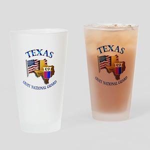 Army National Guard - TEXAS w Flag Drinking Glass