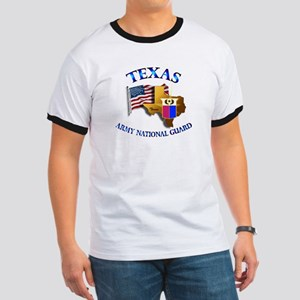 Army National Guard - TEXAS w Flag Ringer T