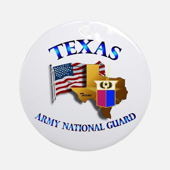 Army National Guard - TEXAS w Flag Ornament (Round