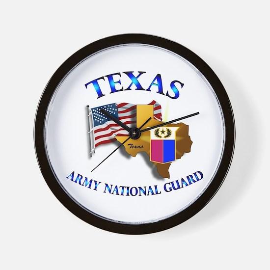 Army National Guard - TEXAS w Flag Wall Clock