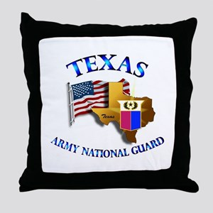 Army National Guard - TEXAS w Flag Throw Pillow