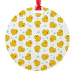 Rubber Duck Pattern Round Ornament