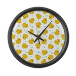 Rubber Duck Pattern Large Wall Clock