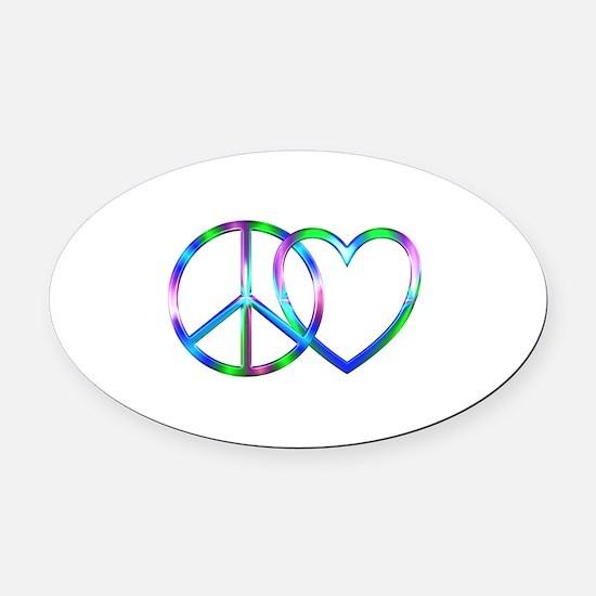 Shiny Peace Love Oval Car Magnet