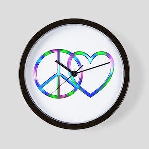 Shiny Peace Love Wall Clock