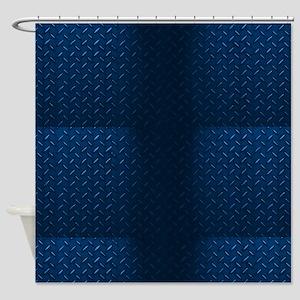 Blue Diamod Plate Shower Curtain
