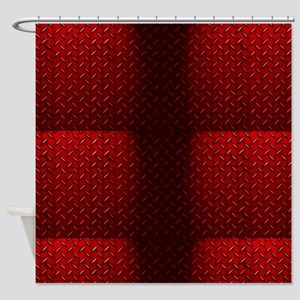 Red Diamond Plate Shower Curtain