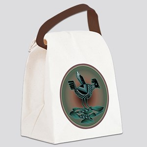 Mimbres Teal Quail Canvas Lunch Bag