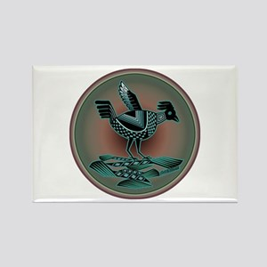 Mimbres Teal Quail Rectangle Magnet
