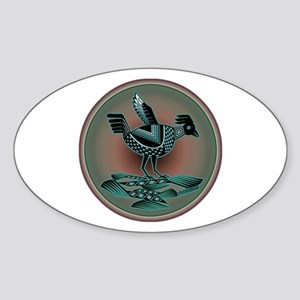 Mimbres Teal Quail Sticker (Oval)