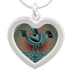 Mimbres Teal Quail Silver Heart Necklace