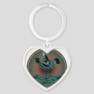 Mimbres Teal Quail Heart Keychain