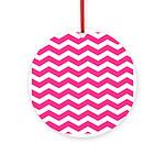 Hot pink chevron Ornament (Round)