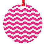 Hot pink chevron Round Ornament