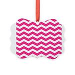 Hot pink chevron Picture Ornament