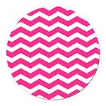 Hot pink chevron Round Car Magnet