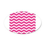Hot pink chevron Oval Car Magnet