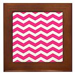 Hot pink chevron Framed Tile