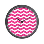 Hot pink chevron Wall Clock