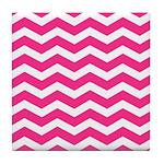 Hot pink chevron Tile Coaster