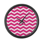 Hot pink chevron Large Wall Clock
