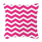 Hot pink chevron Woven Throw Pillow