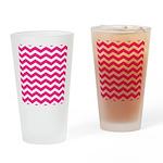 Hot pink chevron Drinking Glass