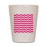 Hot pink chevron Shot Glass