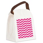 Hot pink chevron Canvas Lunch Bag