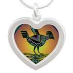 Mimbres Sunset Quail Silver Heart Necklace