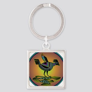 Mimbres Sunset Quail Square Keychain