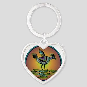Mimbres Sunset Quail Heart Keychain