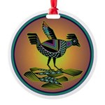 Mimbres Sunset Quail Round Ornament