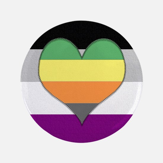 """Aromantic Asexual Heart #1 3.5"""" Button"""